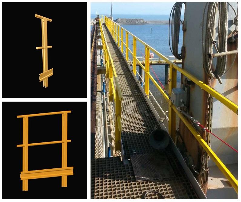 Leuning H40 kunststof, handrail, staander, knierail, voetplint